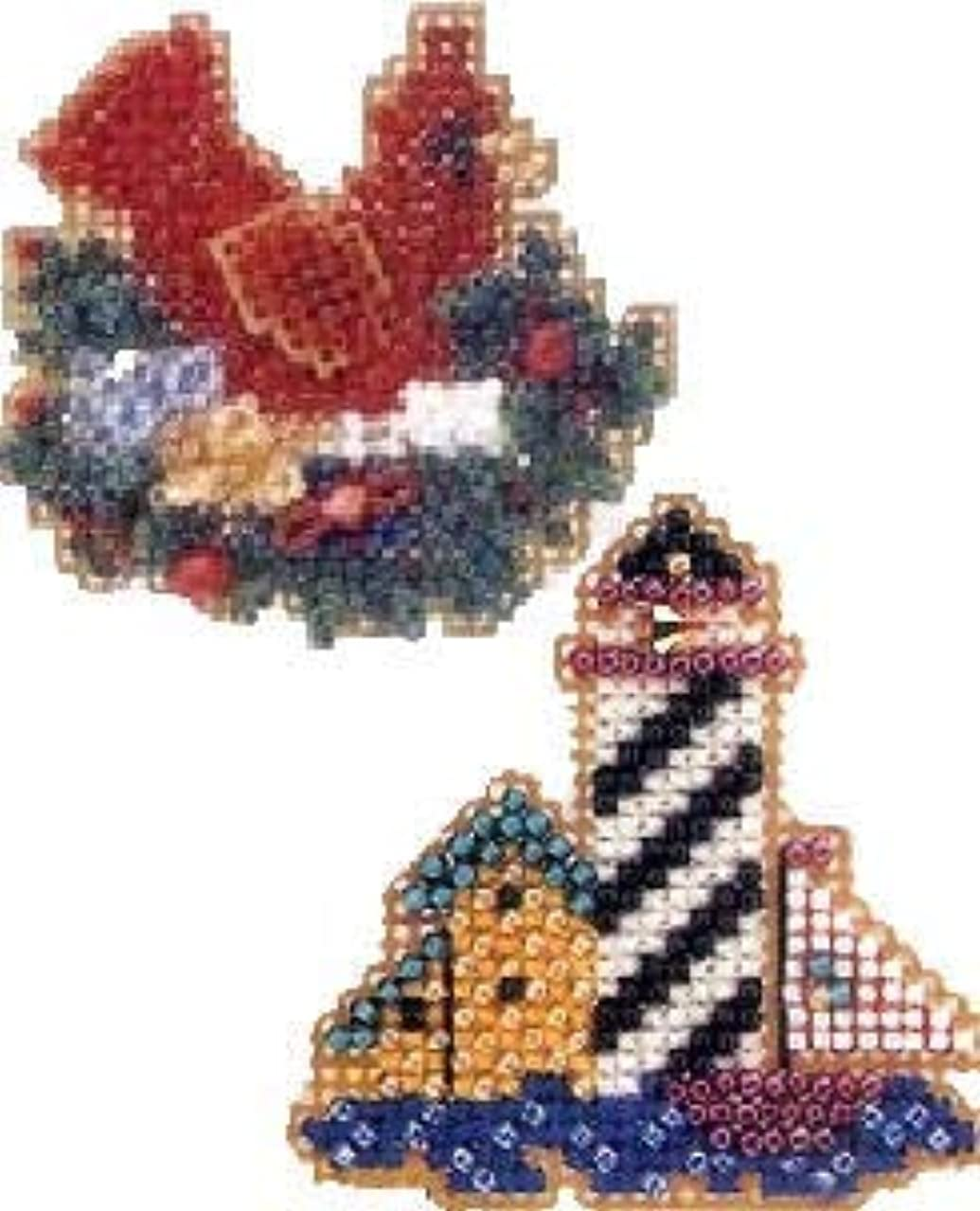 2 Kit Bundle, Counted Glass Beads : Red Christmas Bird in Nest and Lighthouse