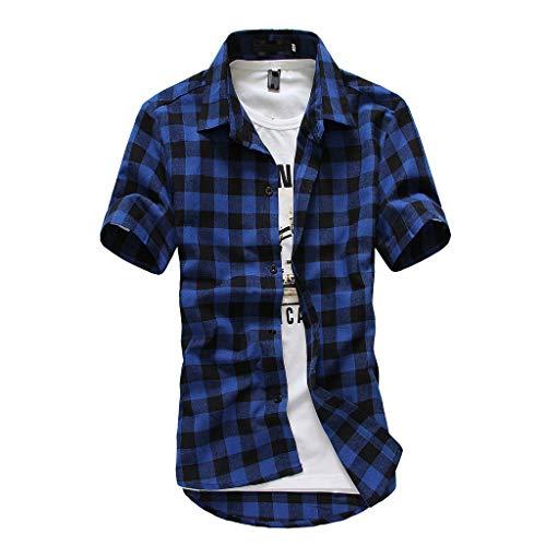 LuckyGirls Manches Courtes Hommes en Treillis à Carreaux Peinture Grande Taille Casual Top Blouse Chemises(Bleu foncé,XX-Large)