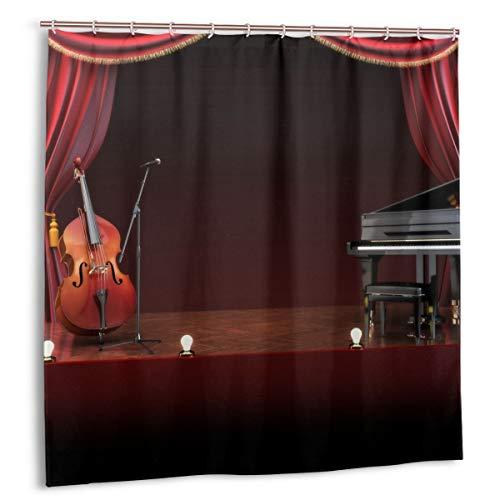 Duschvorhang,Musiktheater Orchester Symphonie Thema Bühnenvorhänge Klavier Cello Stoff Badezimmer Dekor Set mit Haken 150cmx180cm