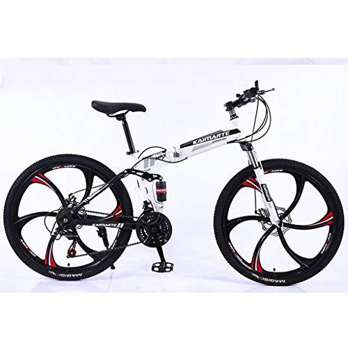 """Mountain Bike bicicletta MTB Sportiva da Montagna Pieghevole Donne / Uomini Di Montagna Bicicletta 21/24/27 Costi 26"""" In Acciaio Al Carbonio Telaio Full Suspension Mountain Bike Mens Bicycle Bike Bicy"""