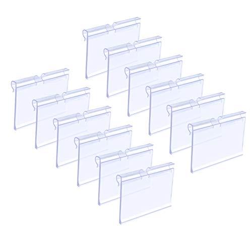 Matogle 70 Pcs Espositore in Plastica Trasparente Porta Prezzi per Negozio Mensole Prezzi Etichetta di Prezzo Segni di Merce Prodotto Mensola per Supermercato Bottega