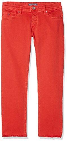 Tommy Hilfiger Tommy Hilfiger Mädchen Lana Straight Cropped ICPST Jeans, Rot (Flame Scarlet 610), 152 (Herstellergröße: 12)