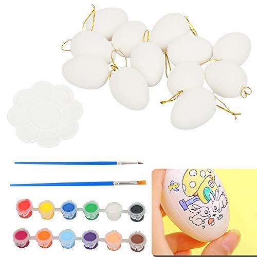 Speyang Huevos de Pascua de plástico, 12 Piezas Huevos de Plástico para Colgar con Cuerda, Manualidades de Bricolaje de Pascua Que Pintan para La Decoración y El Regalo