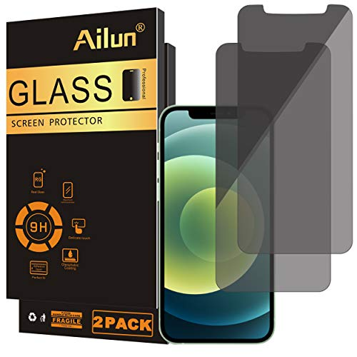 Ailun Privacy Screen Protector Compatible for iPhone 12/iPhone 12 pro 2020 6.1 Inch 2 Pack Anti Spy Case Friendly Tempered Glass