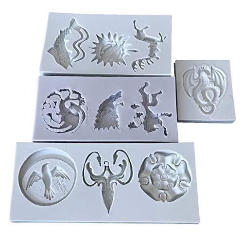 xiaome Set di 4 stampi in Silicone per, Fondente per Torta Fondente, Topper Cupcake, progetti di gioielleria e creazione di Gioielli in Resina di Argilla polimerica
