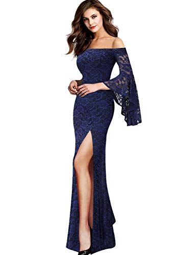 VFSHOW Womens Floral Lace Off Shoulder Bell Sleeve Formal Wedding Maxi Dress 1810 BLU L