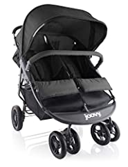 """30"""" width-fits through standard doors, accommodates two 45 pounds children (90 pounds total) Recline each seat and adjust each footrest independently of each other One-hand fold, huge basket and canopy, removable bumper bar. Flame retardant and chemi..."""