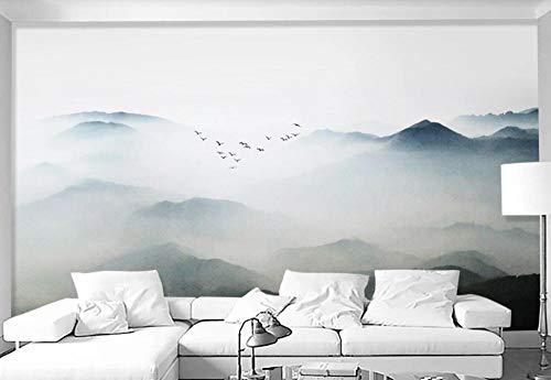 Fototapete 3D Effekt Tapete Schöne Wolken Und Berge Und Vögel 3D Wandbild Wanddeko Wandbilder Wohnzimmer Schlafzimmer Wand Tapeten 150x105cm