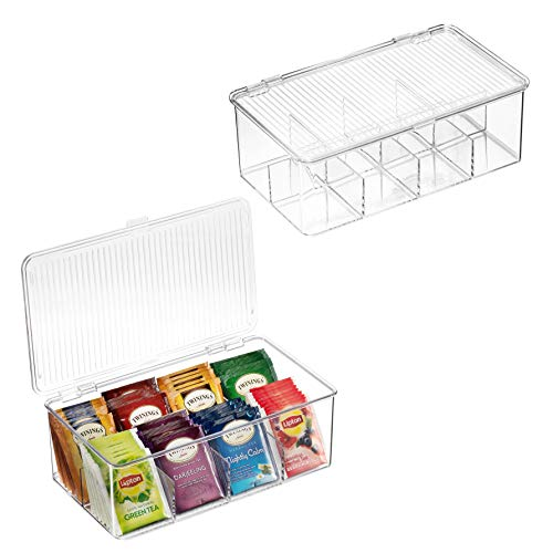 2 Pack Stackable Plastic Tea Bag Organizer - Storage Bin Box for Kitchen Cabinets, Countertops, Pantry - Holds Beverage Bags, Cups, Pods, Packets, Condiment Accessories Holder