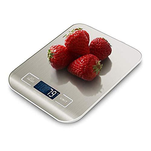 Báscula Digital para Cocina de Acero Inoxidable, 5kg / 11 lbs, Balanza de Alimentos Multifuncional, Peso de Cocina, Color Plata (Baterías Incluidas)
