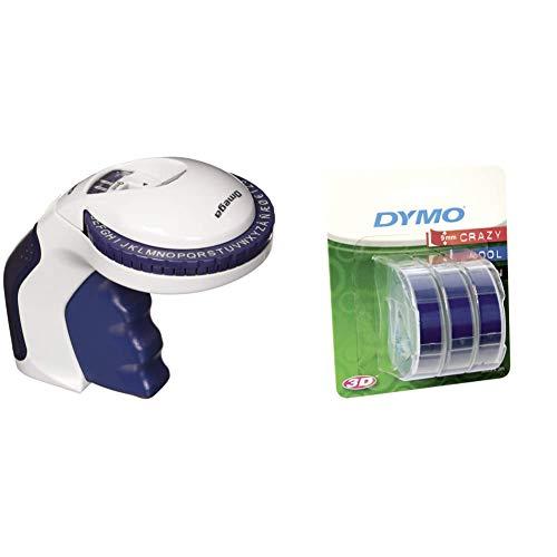 Dymo Etichettatrice a rilievo Omega per uso domestico & S0847740 Etichette Autoadesive a Rilievo in Vinile, Rotoli da 9 mm x 3 m, Stampa Bianco su Blu, Confezione da 3
