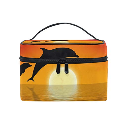 Delphine im Sonnenuntergang Frauen reisen Kosmetiktasche tragbare Make-up Zug Fall Kulturbeutel Beauty Organizer