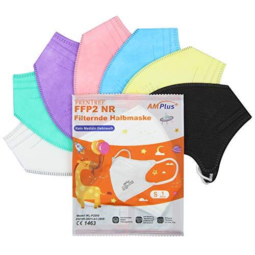 20x Bunte Mini FFP2 Masken in Kleiner Größe, CE Zertifiziert und einzeln verpackt, mit weichen Ohrschlaufen und Nasenbügel