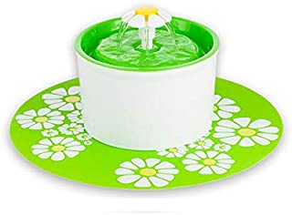 Flower Style Automatic Electric Pet Water Fountain Dog Cat Drinking Bowl with Corner Fit, Green, 1.6L