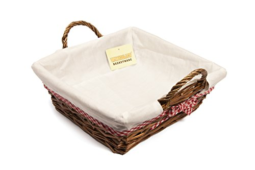 Woodluv Sqaure Wicker Hamper Basket with White Lining 30X31CM