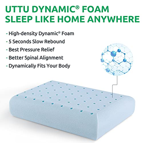 UTTU Camping Pillow with Memory Foam Gel Insert, Portable Travel Pillow with a Storage Handbag, Cooling Pillow for Backpacking, Seat Cushion and Lumbar Support, Washable Pillowcase