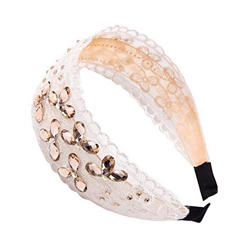 Womens mode Net souple en tissu Bandeau Bandeau Accessoire cheveux, Beige