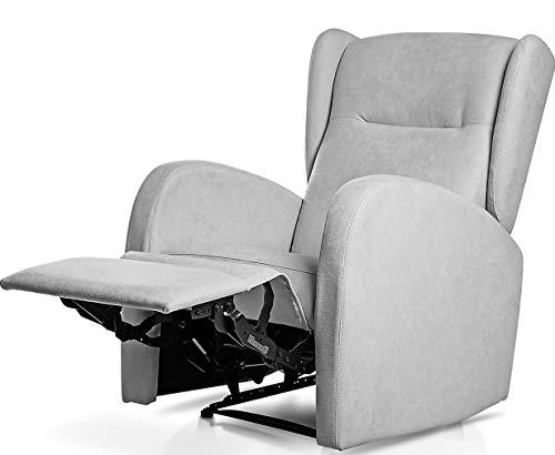 SUENOSZZZ-ESPECIALISTAS DEL DESCANSO Sillón Relax orejero Home reclinable con Pared Cero tapizado en Tela Antimanchas Tela Gris Plata