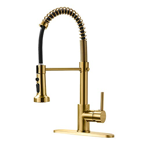 AIMADI Gold Kitchen Faucet with Pull Down Sprayer,Commercial Single Handle Brushed Gold Kitchen Sink Faucet with Deck Plate