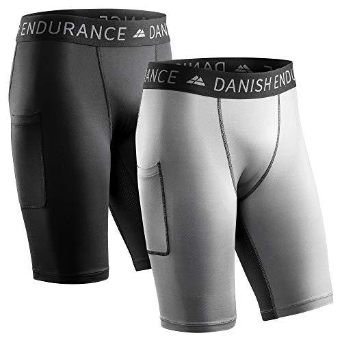 DANISH ENDURANCE Herren-Kompressionshose, Trainingshose, Tights mit Tasche, 2er Pack (Mehrfarbig (1x Schwarz, 1x Grau), M)