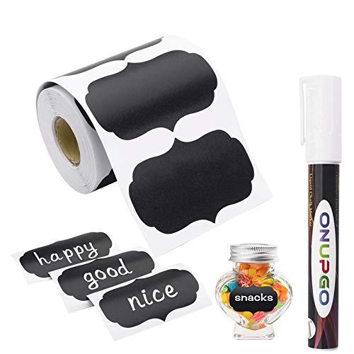 ONUPGO Etiquetas de pizarrón, 180 pegatinas impermeables reutilizables con 1 marcador de tiza líquida para tarros de masón, decoración de fiestas, salas de manualidades