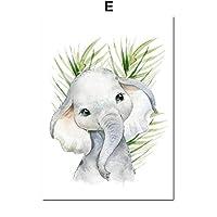 キリンタイガーホースライノアートファブリック絵画北欧のポスターとプリント動物の壁の写真キッズルームの装飾60x90cmフレームなし