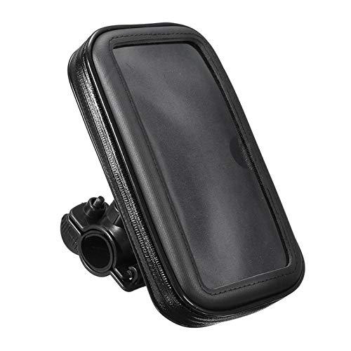 Phoenixset Soporte de teléfono móvil de la Bicicleta de la Motocicleta Soporte de Soporte para el Soporte de Bicicleta GPS Bolsa de Caja Impermeable (Color : Black)