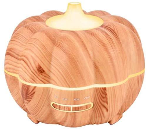 Halloween pompoen houtnerf aroma luchtbevochtiger, Huis etherische olie aromatherapie machine, luchtbevochtiger, met 7 LED-kleur nachtverlichting en 4 timers, 400 ml, for slaapkamer, kantoor, yoga en