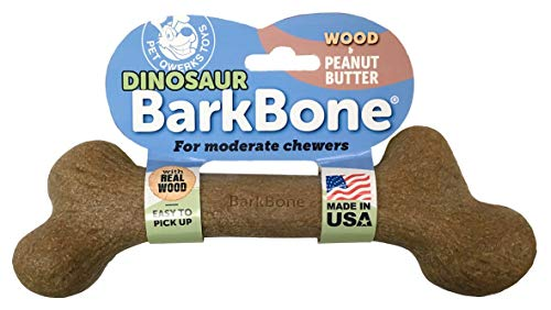 Pet Qwerks Dinosaur WOOD BarkBone Peanut Butter Flavor- Durable Bone Toys for MODERATE & LIGHT...