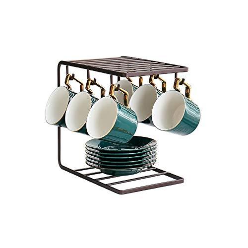 SLHEQING Espresso Tassenhalter Gold Kaffeetasse Regal Metall Ständer für 6 Tassen Untertasse Löffel Sets Tee-Set Display Stand