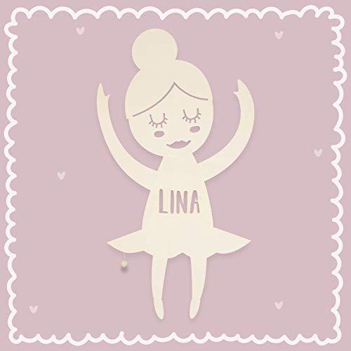 Nachtlicht Bibi die Ballerina Kinderzimmer-Lampe/Tauf-Geschenk oder zur Geburt/Personalisiert mit Wunsch-Name für Mädchen oder Jungen Schlummerleuchte Babyzimmer Stillicht [Energieklasse A++]