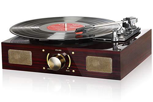 Plattenspieler, Lugulake Retro-Plattenspieler 3-Gang-Vinyl-Player mit eingebautem Stereolautsprecher, Aux-In und Cinch-Ausgang, Vintage-Phonograph mit Retro-Holzsockel