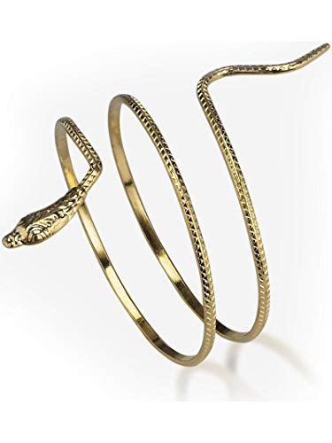 Peter Alan, Inc - Costume Mates Metal Snake Armband?Punk Metal Coiled Snake Spiral Upper Arm Cuff Armlet Bangle Bracelet for Girls and Women - Gold/Silver, Multi-colored, One Size