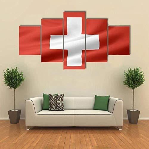 ARIE Leinwanddrucke 5 Stück Leinwand Bilder Wanddeko Wand Schweiz Flagge Hd Poster Kunstwerke Malerei Weihnachten Kreative Geschenke