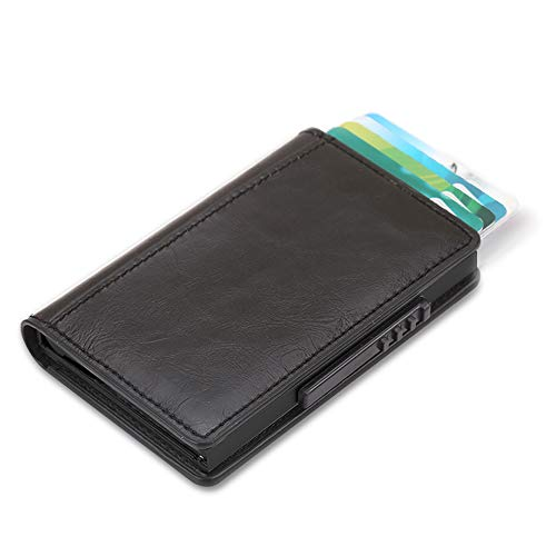 Gaoni - Cartera de piel fina con bloqueo RFID, acceso rápido a la tarjeta, soporte para tarjetas de crédito, cartera minimalista plegable para hombres con caja de regalo