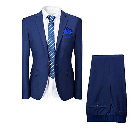 Costume Homme de Couleur Unie Un Boutons d'affaire Mariage Slim fit Deux pièces,Bleu Marine,S