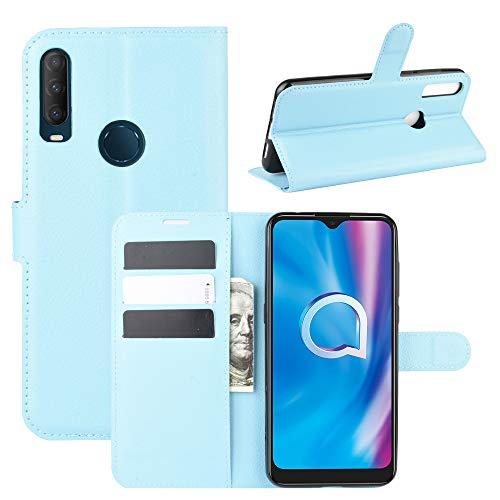 HualuBro Alcatel 3L 2020 Hülle, Alcatel 1V 2020 Hülle, Alcatel 1S 2020 Hülle, Premium PU Leder Stoßfest Klapphülle Schutzhülle Tasche HandyHülle Handytasche Wallet Flip Hülle Cover (Blau)