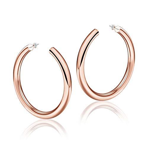 Rose Gold Hoop Earrings for Women, 14K Rose Gold Plated Lightweight Chunky Open Hoops 60mm Rose Gold Hoop Earrings for Women
