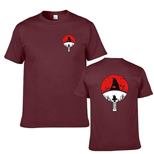 KMNL-Naruto Anime 3D Impresa Camiseta, Sharingan Akatsuki Uchiha Madara Casual Sweatshirts, Color sólido Sencillez Sudadera, Manga Corta, Unisexo-2_XS
