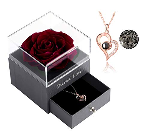 Preserved Rose Drawer with Special Heart Necklace, Handmade Fresh Rose Gift for Her on Birthday,Christmas,Mother's Day,Valentine's Day (Wine Red Rose)