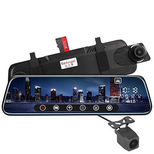 10 Inch Touch Screen Car Camera 10' Rearview Mirror FHD 1080P Dash DVR Cam Backup Camera Night Vision Front and Rear Dual Lens Video Recorder Reversing