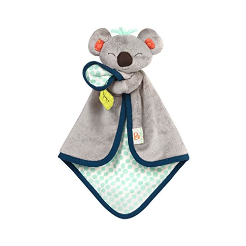 B. toys by Battat BX1565Z B. Toys – B. Snugglies - Fluffy Koko The Koala Security Blanket – Adorable Baby Blankie with Soft Fabric, 12.5' x 8.25' x 2.5'