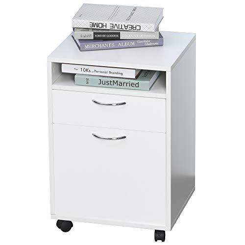 Caisson de bureau rangement bureau sur roulettes tiroir placard niche panneaux particules blanc