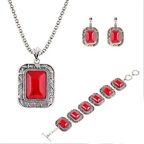 YAZILIND Mujeres Retro rectángulo Colgante Pendientes Collar Pulsera Turquesa joyería Conjuntos Rojos