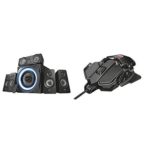 Trust Gaming GXT 658 Tytan 5.1 Surround PC-Lautsprecher Set mit Fernbedienung (180 Watt, LED Beleuchtung) Schwarz & X-Ray Gaming Maus (4.000 DPI-Sensor, 10 programmierbare Tasten) schwarz