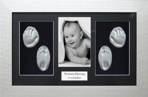 Anika-Baby Kit de moulage d'empreintes de pieds et de mains de bébé avec cadre Argenté