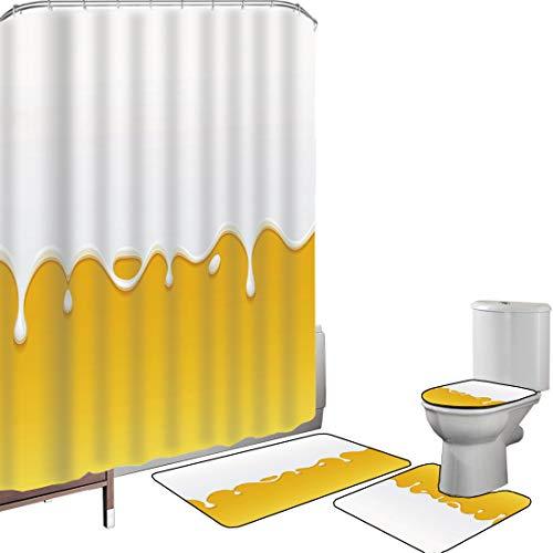 Duschvorhang Set Badezimmerzubehör Teppich Gelb & weiß Badematte Contour Teppich Teppichbezug Tropfender weißer Milchcreme-Farben-Joghurt auf gelbem Honey Backgro& Print Decorative,Yellow White Ru