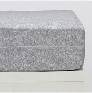 10XDIEZ Funda colchón Estampada Cashmere Gris - Medidas Protector Cama - 150x190 cm.
