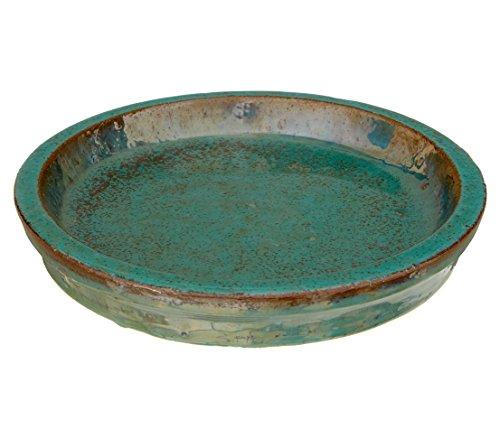 Dehner Blumentopf-Untersetzer, rund, Ø ca. 31 cm, Keramik, glasiert, grün