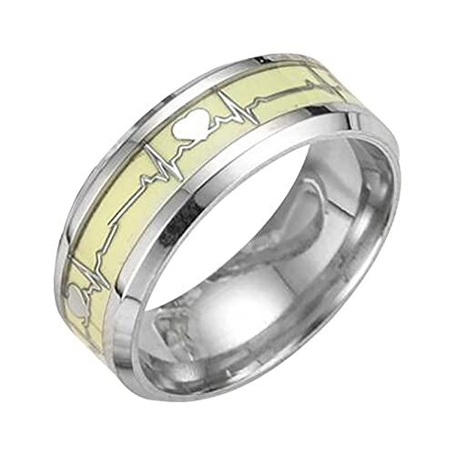 Personalisiert Leuchtende Leuchtende Ringe Edelstahl Im Dunkeln Leuchten Fluoreszierende Ring Frauen Ehering Modeschmuck Stilvoll Und Beliebt (Silber, 21.4)